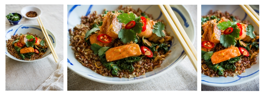 trout kale quinoa red rice story